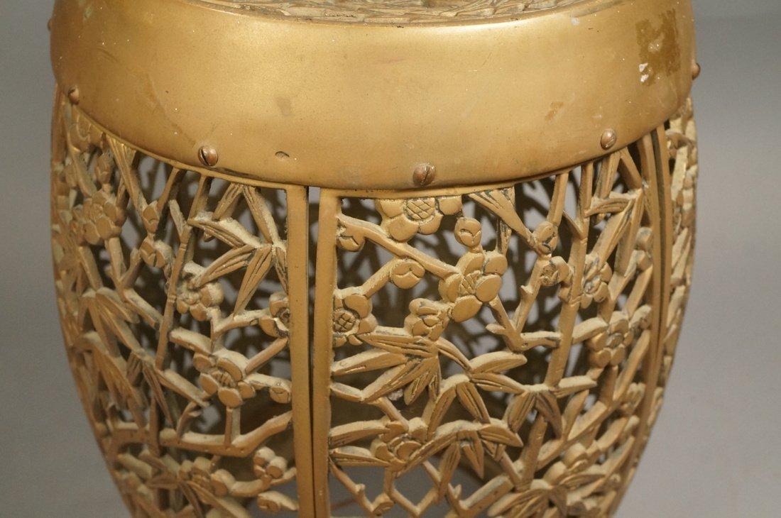 Brass Barrel form Stool Garden Seat. Asian Birds, - 3