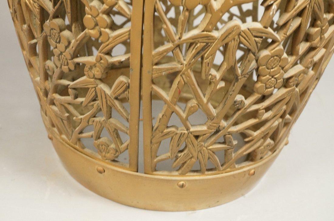 Brass Barrel form Stool Garden Seat. Asian Birds, - 4