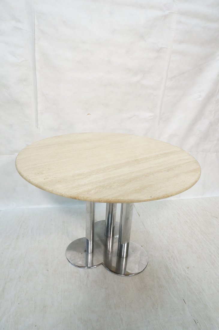 Round Travertine Top Chrome Base Dining Table. Cl