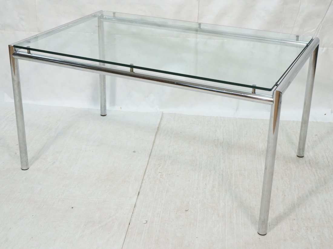Modernist Chrome & Glass Dining Table. Round chro