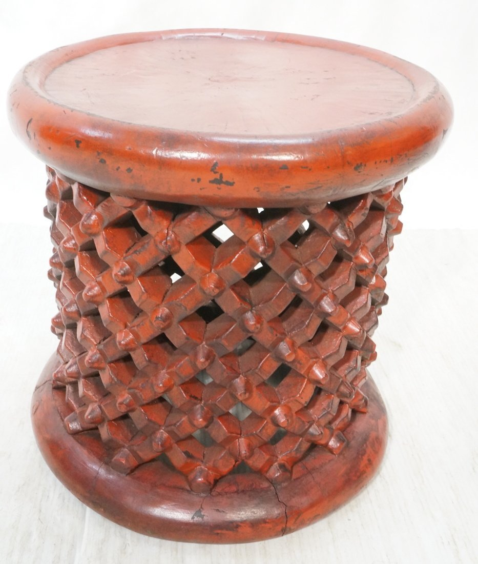 Red Painted Wood Stool. Lattice design. Tribal fo