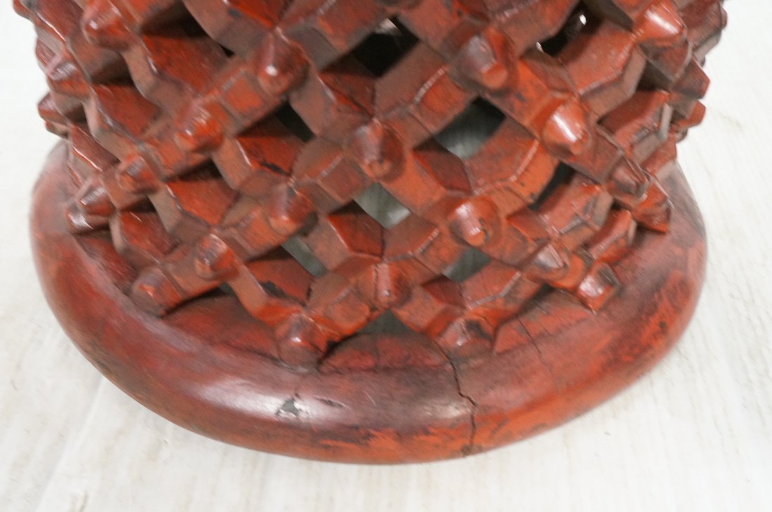 Red Painted Wood Stool. Lattice design. Tribal fo - 3