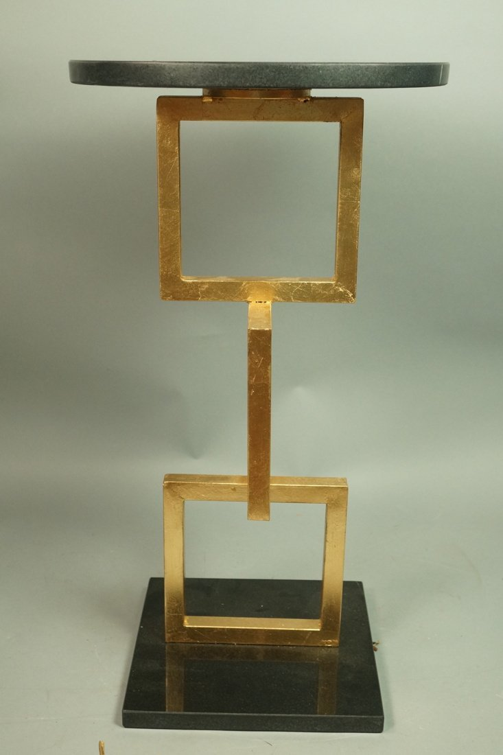 Modernist Gilt Metal Three Stacking Square Side T