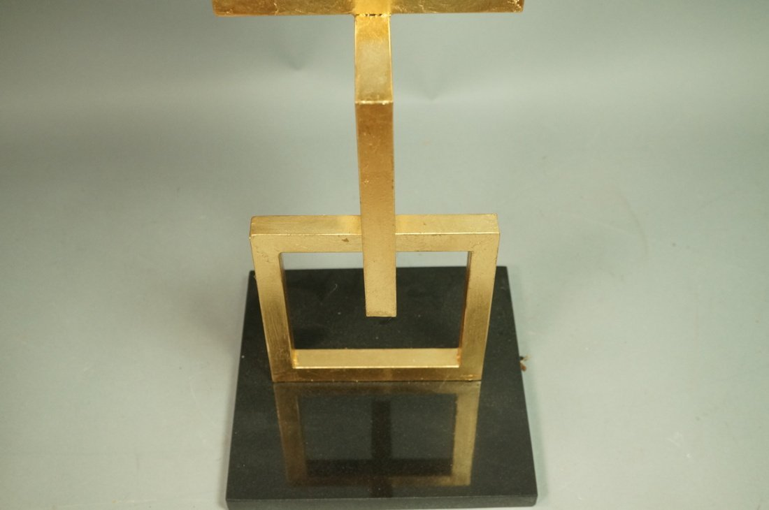 Modernist Gilt Metal Three Stacking Square Side T - 3