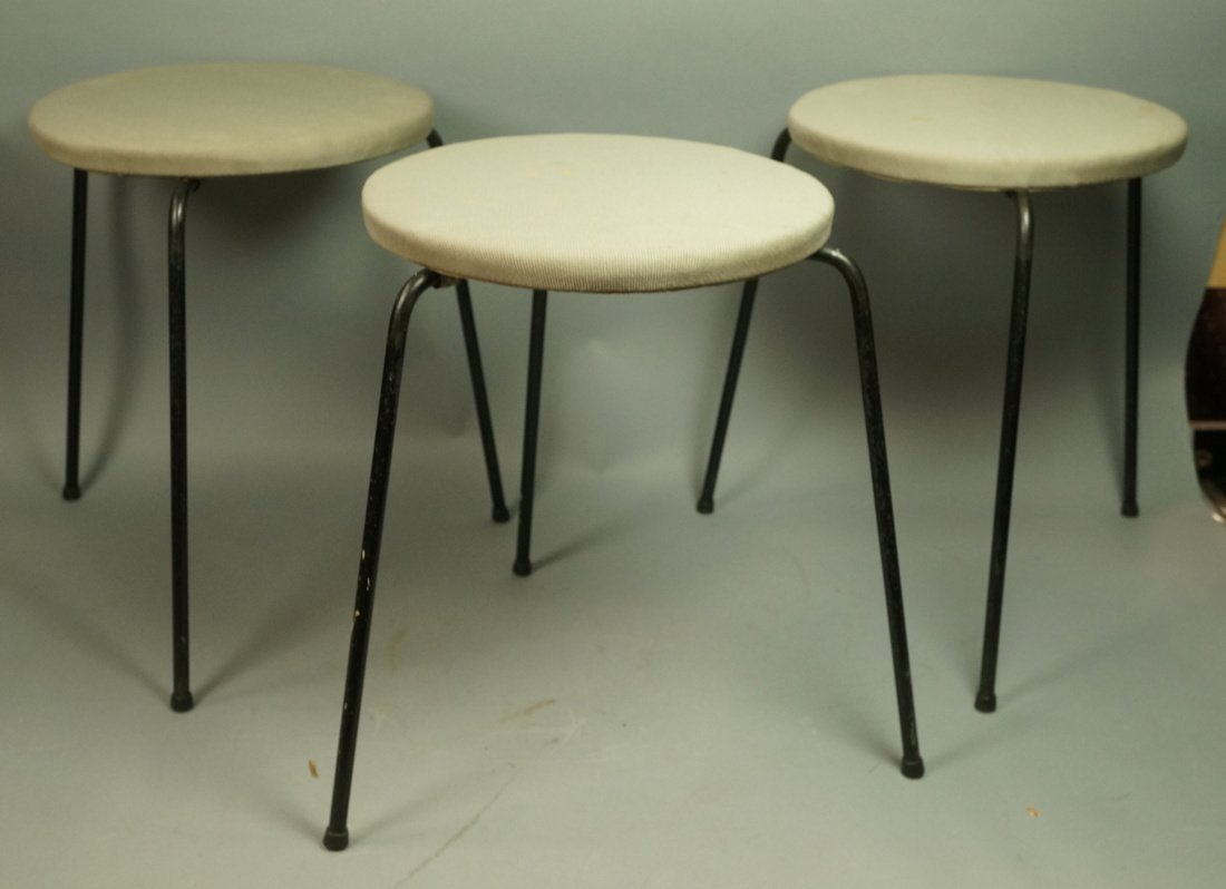 Set 3 Hairpin Iron Legs Round Stools. Gray fabric