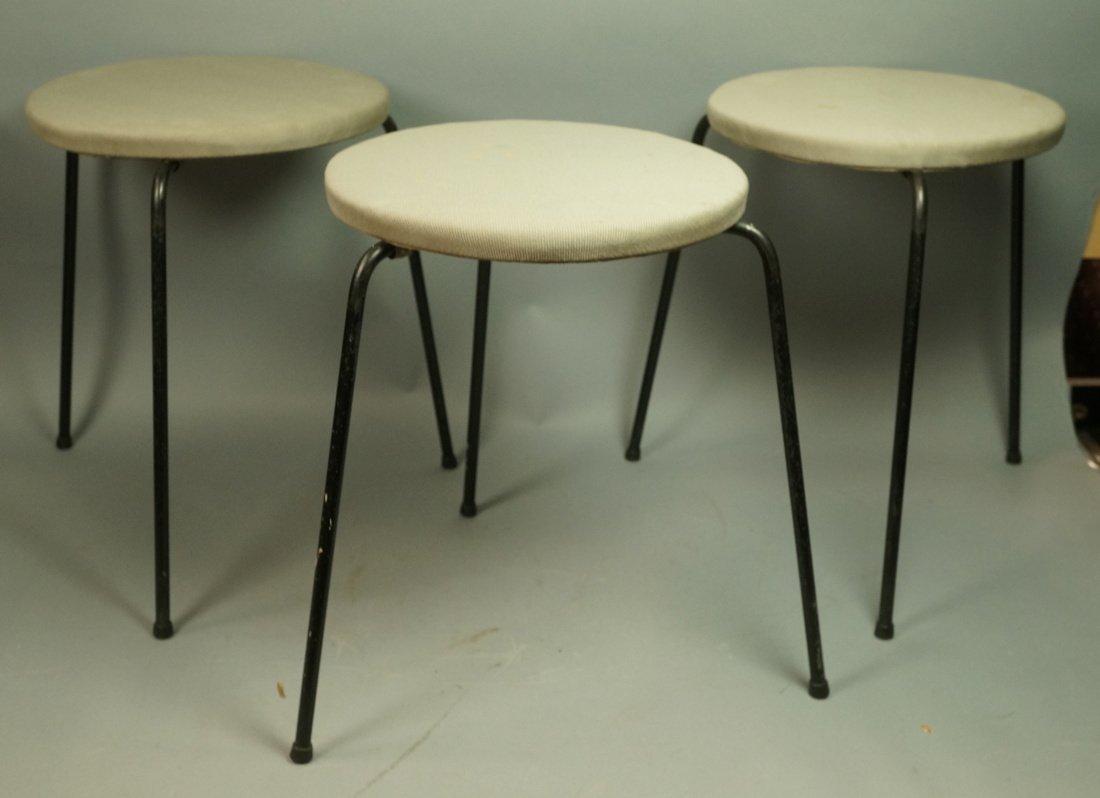 Set 3 Hairpin Iron Legs Round Stools. Gray fabric