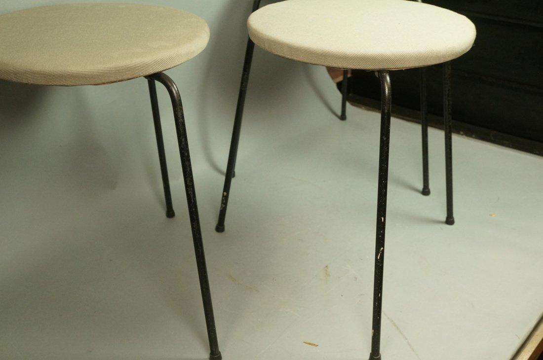Set 3 Hairpin Iron Legs Round Stools. Gray fabric - 2