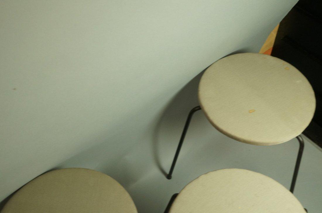 Set 3 Hairpin Iron Legs Round Stools. Gray fabric - 4
