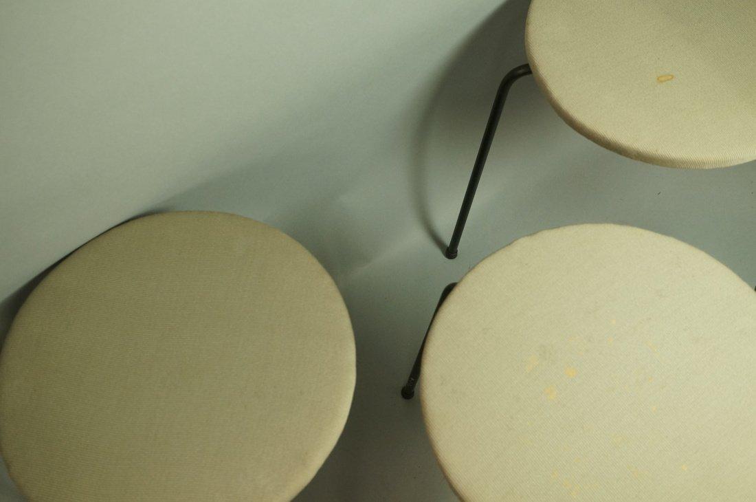 Set 3 Hairpin Iron Legs Round Stools. Gray fabric - 5