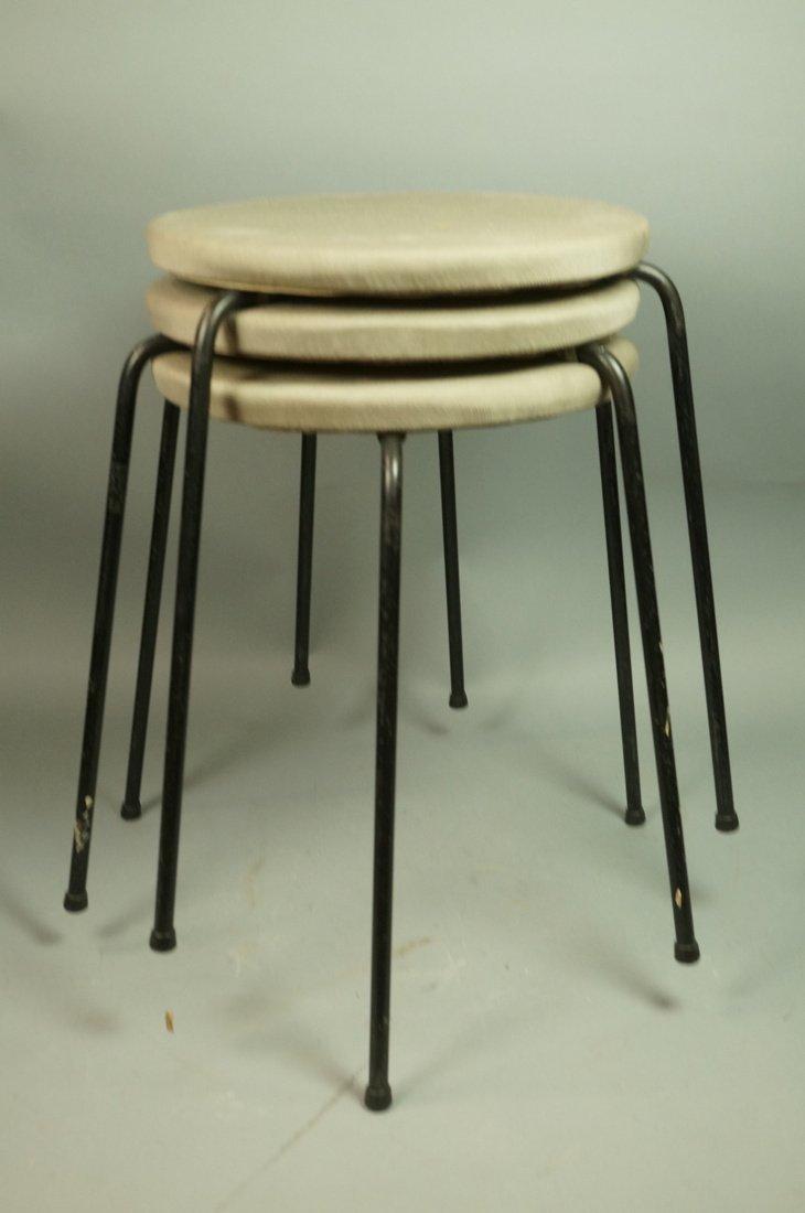 Set 3 Hairpin Iron Legs Round Stools. Gray fabric - 7