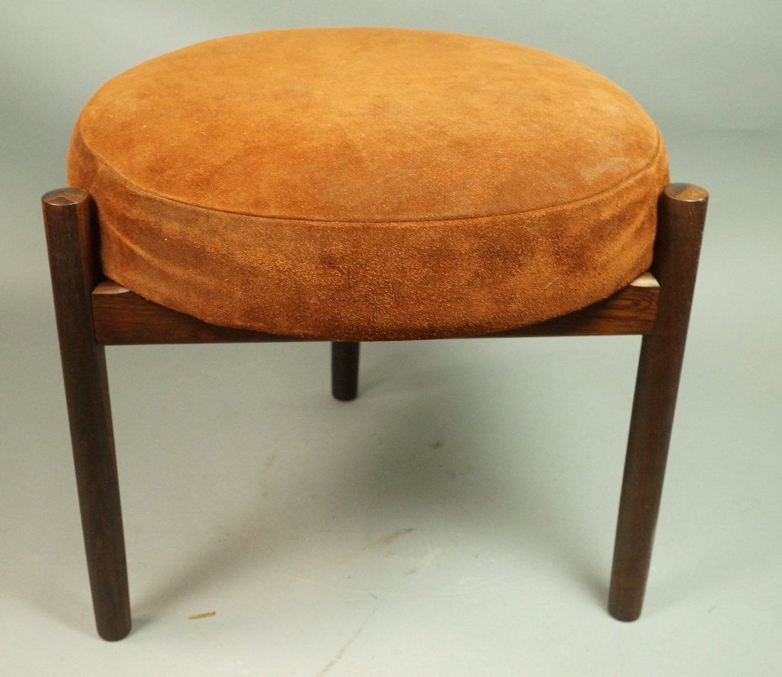 Danish Modern Tripod Triangular Stool with Brown