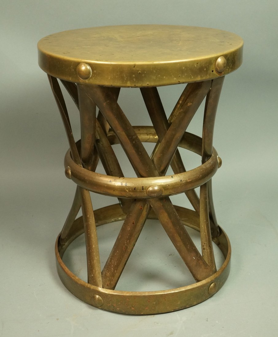SARREID Style Small Brass Corseted Stool. Seat. N