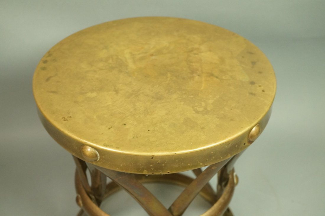 SARREID Style Small Brass Corseted Stool. Seat. N - 2