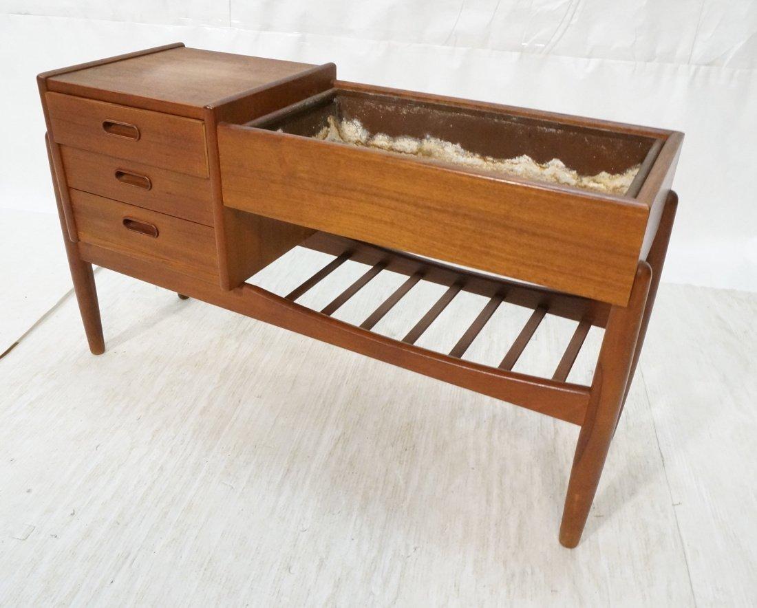 Danish Teak Planter Side Table. Three drawers. Me