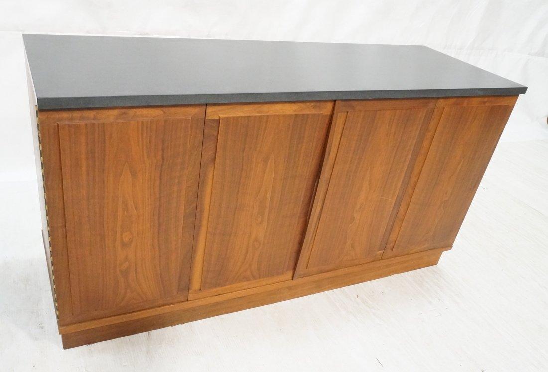 Slate Top Modernist Walnut bi-fold Door Cabinet.