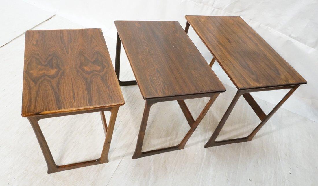 Set 3 Rosewood Modernist Nesting Tables. Shaped l