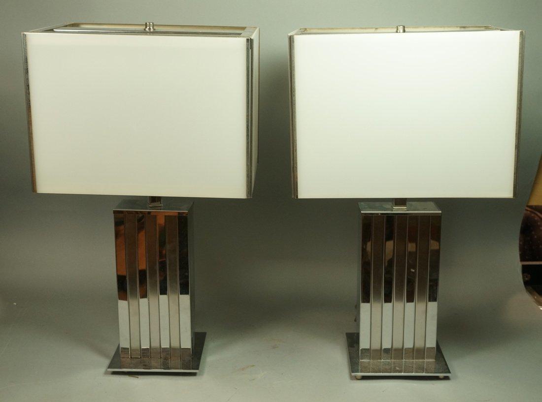 Pr Satin & Shiny Finish Chrome Table Lamps. White