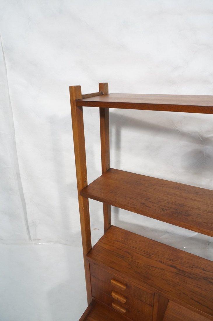 Teak Modern Desk with Book Shelf Top. Three shelv - 10