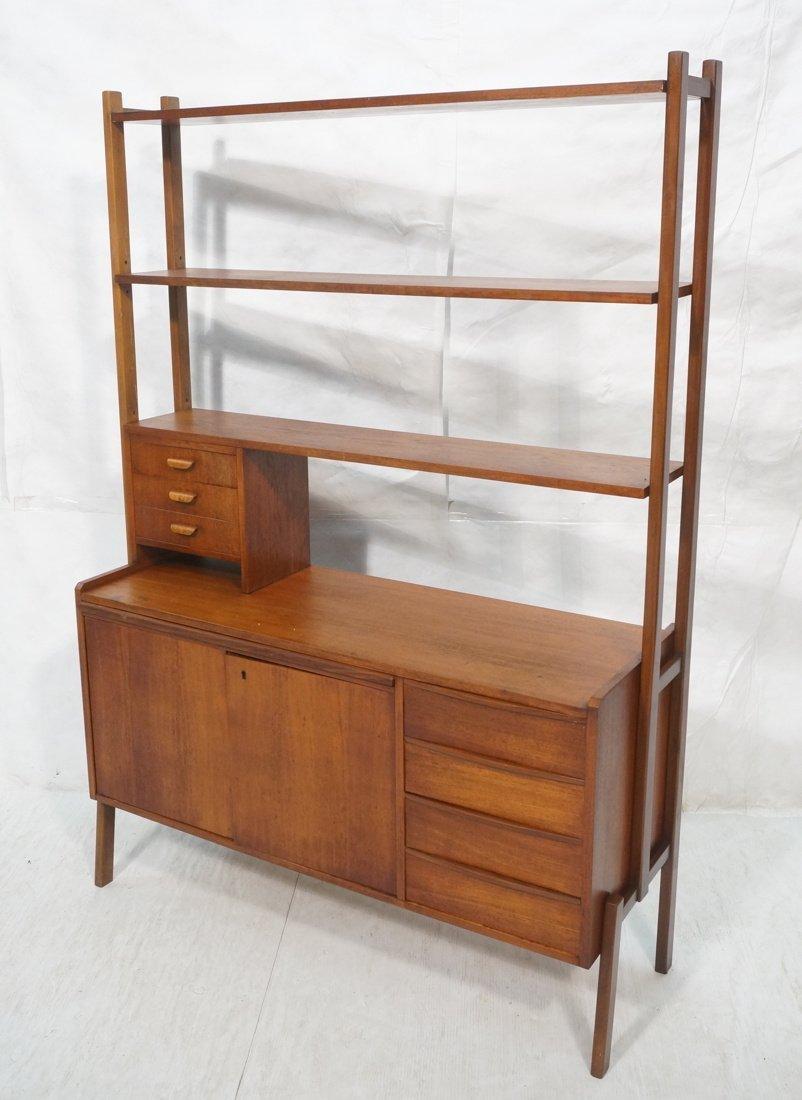 Teak Modern Desk with Book Shelf Top. Three shelv
