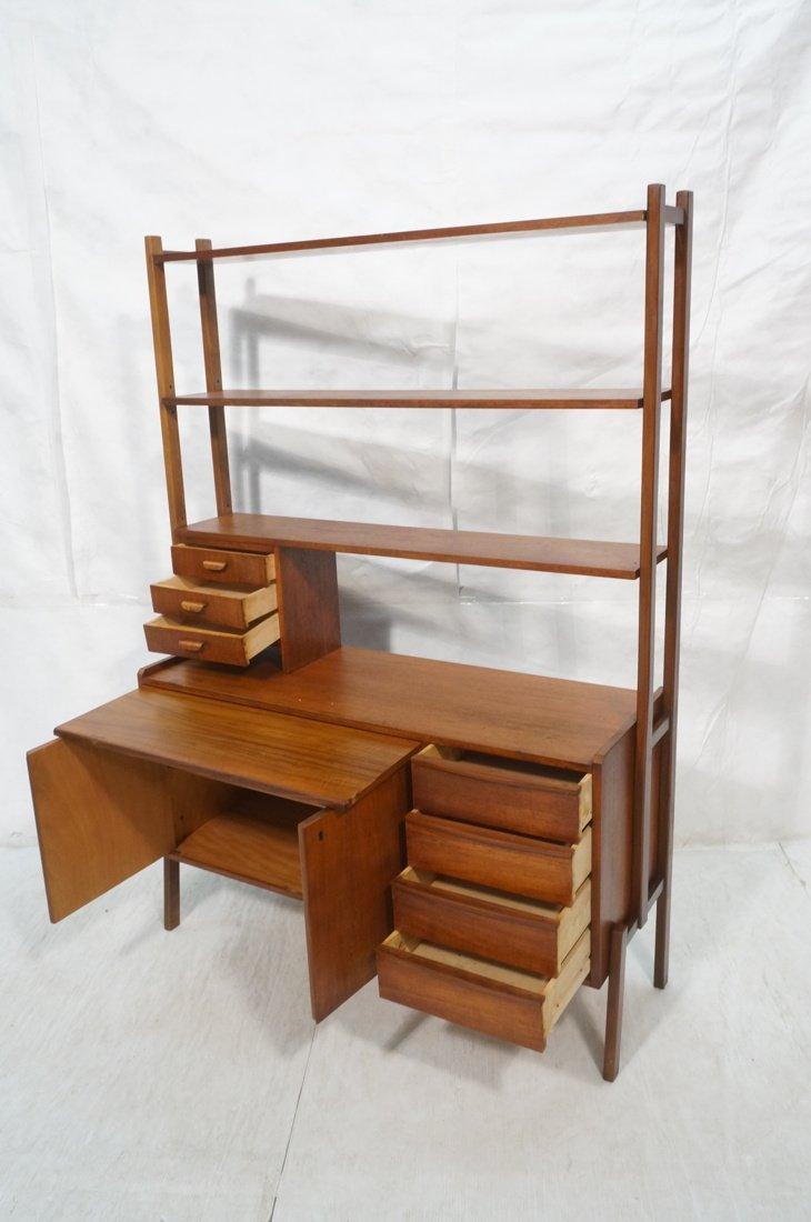 Teak Modern Desk with Book Shelf Top. Three shelv - 2