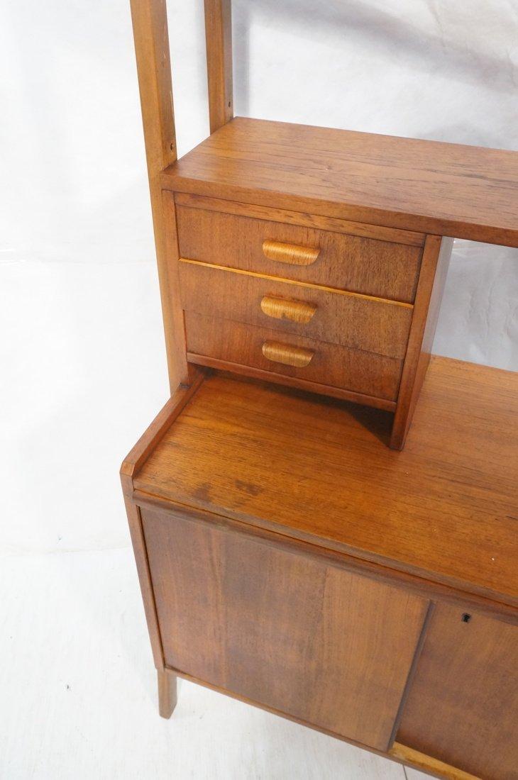 Teak Modern Desk with Book Shelf Top. Three shelv - 4