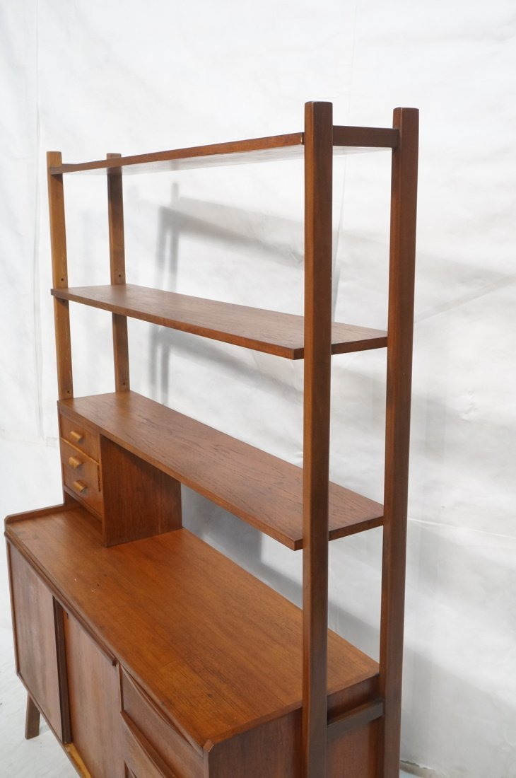 Teak Modern Desk with Book Shelf Top. Three shelv - 5