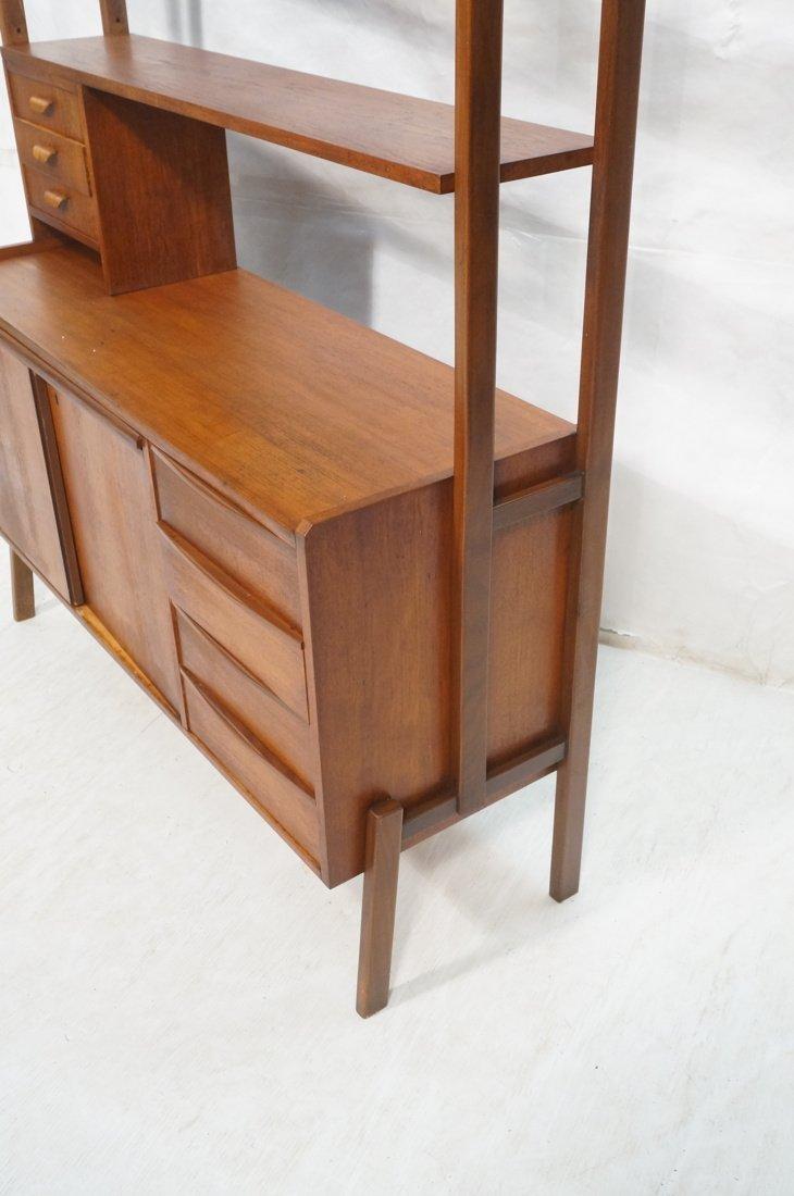 Teak Modern Desk with Book Shelf Top. Three shelv - 6
