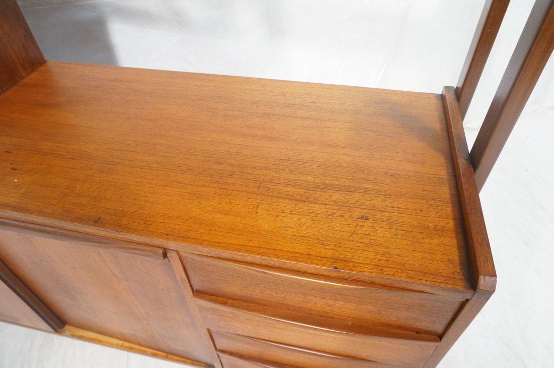 Teak Modern Desk with Book Shelf Top. Three shelv - 8