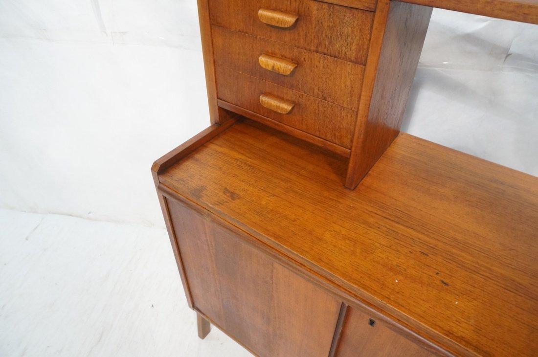 Teak Modern Desk with Book Shelf Top. Three shelv - 9