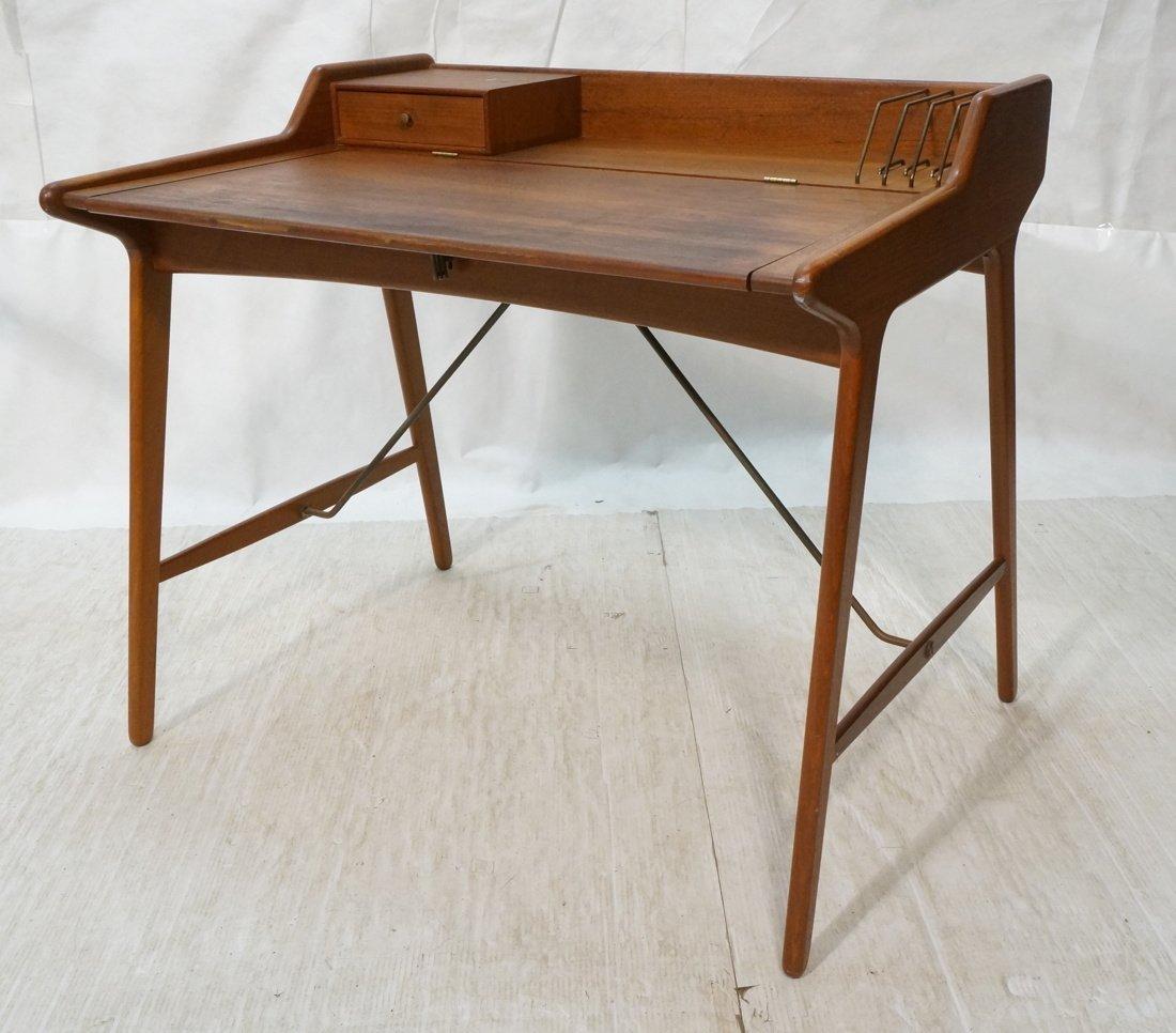 Arne Wahl Iversen Danish Teak Flip Top Desk. Top