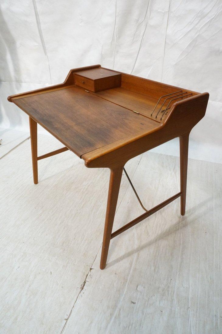 Arne Wahl Iversen Danish Teak Flip Top Desk. Top - 2