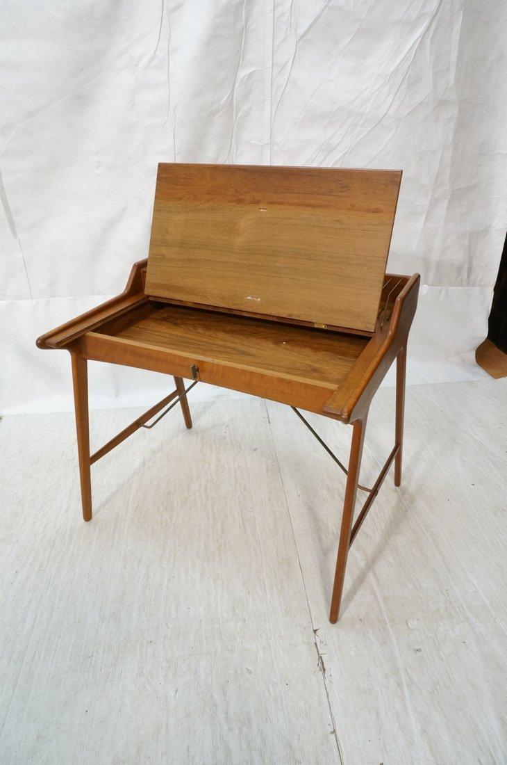 Arne Wahl Iversen Danish Teak Flip Top Desk. Top - 4