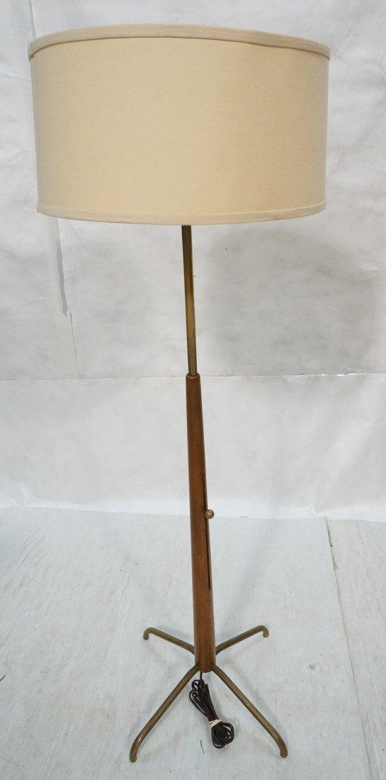 Modern Brass Wood Floor Lamp. Four legs support w