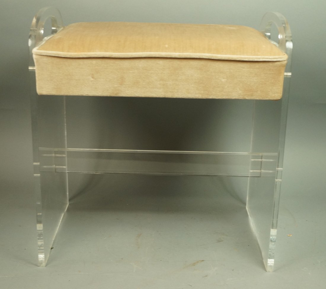 Lucite Vanity Bench. Modernist seating with tan v