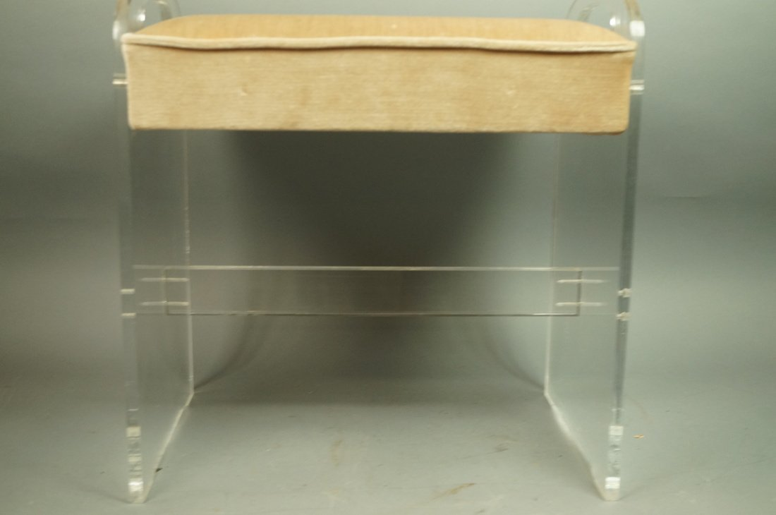 Lucite Vanity Bench. Modernist seating with tan v - 3