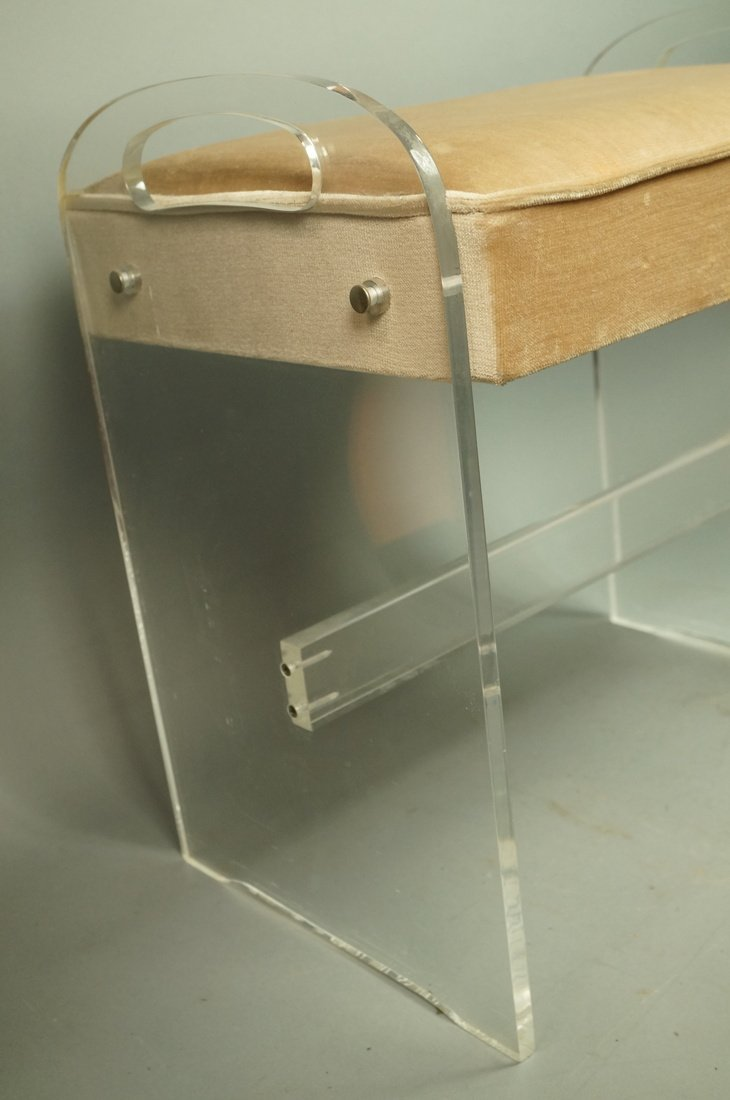 Lucite Vanity Bench. Modernist seating with tan v - 5