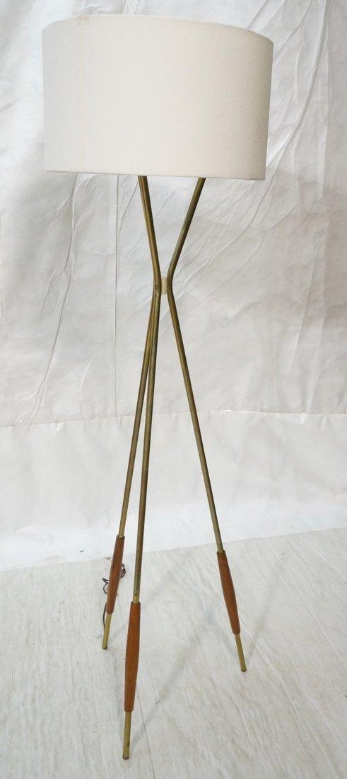 GERALD THURSTON Brass & Wood Modernist Floor Lamp
