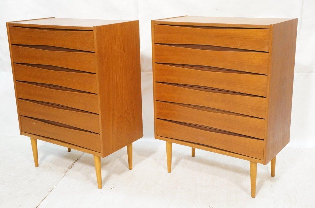Pr Danish Teak Six Drawer Small Chests Dressers.