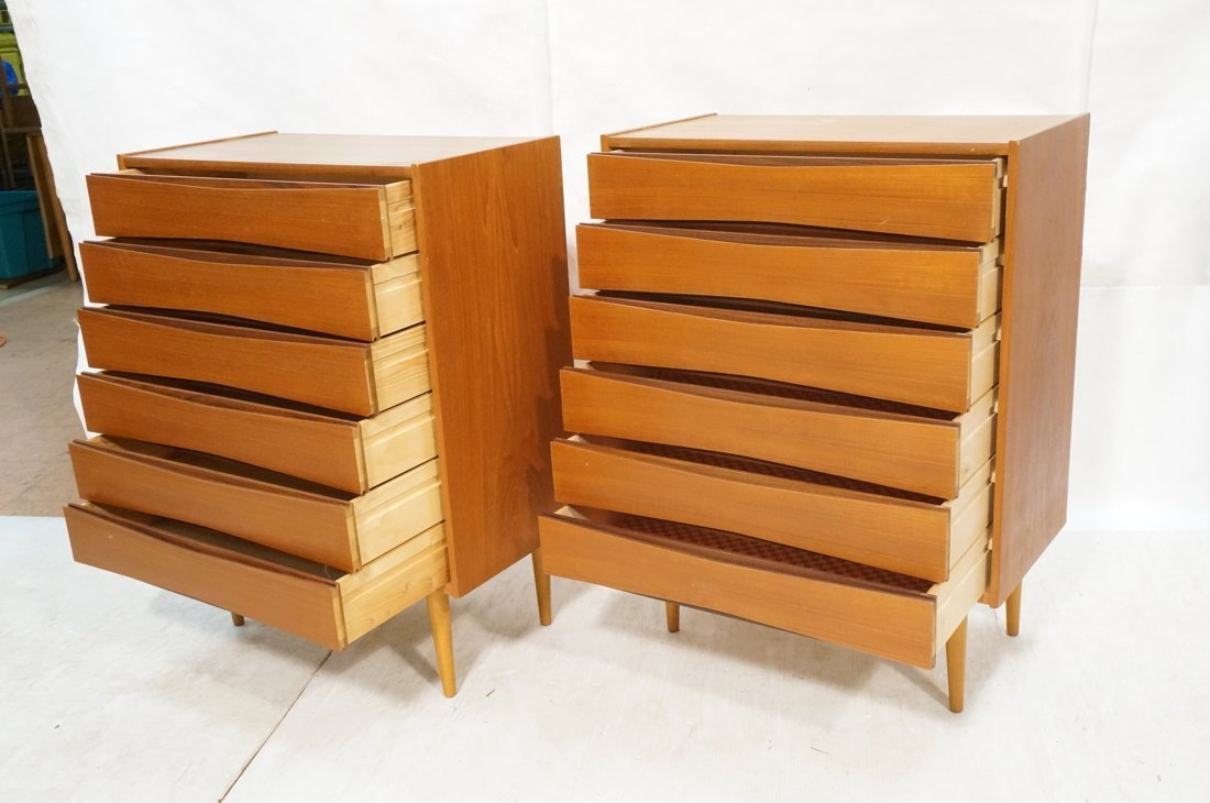 Pr Danish Teak Six Drawer Small Chests Dressers. - 2