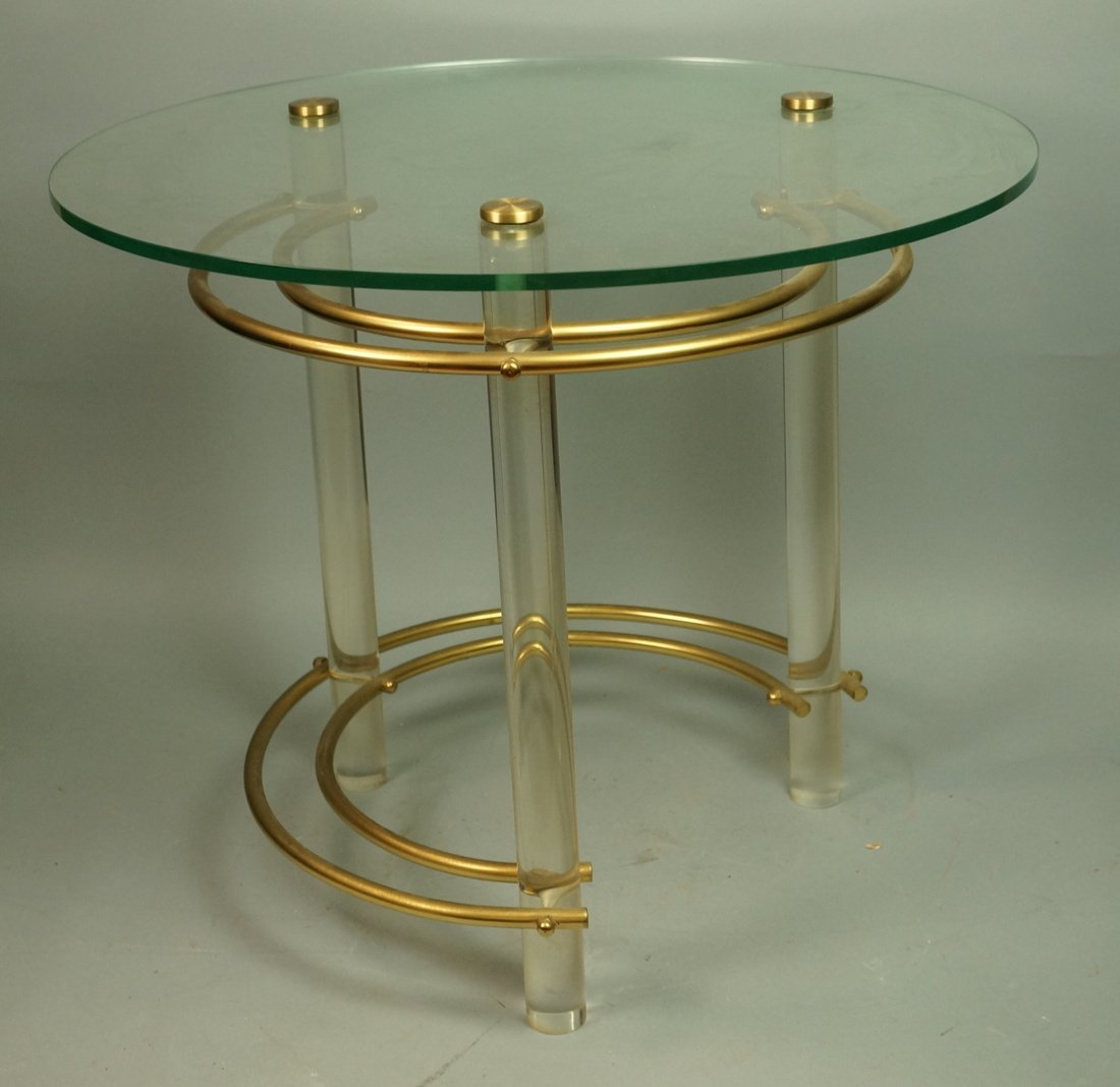 HOLLIS JONES style Brass & Lucite Side Table.  Ro