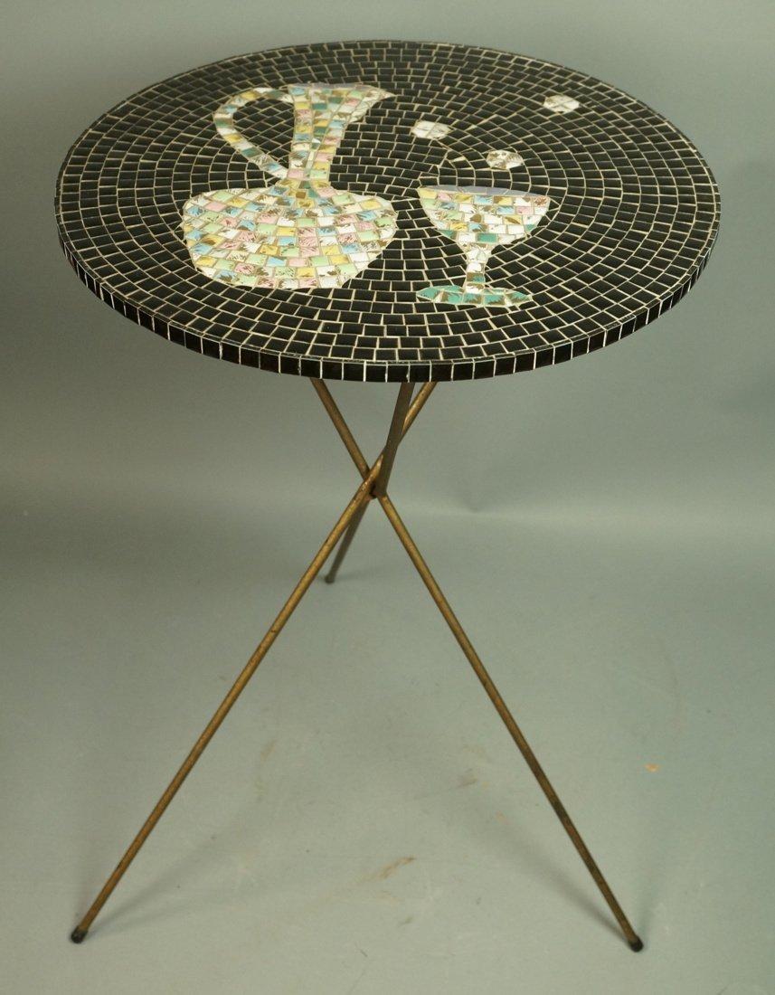 Small Modern Tile Top Table. Tripod Hairpin Legs.
