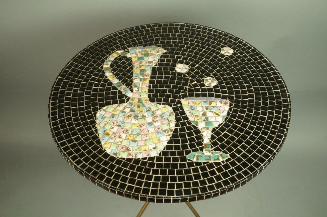 Small Modern Tile Top Table. Tripod Hairpin Legs. - 3