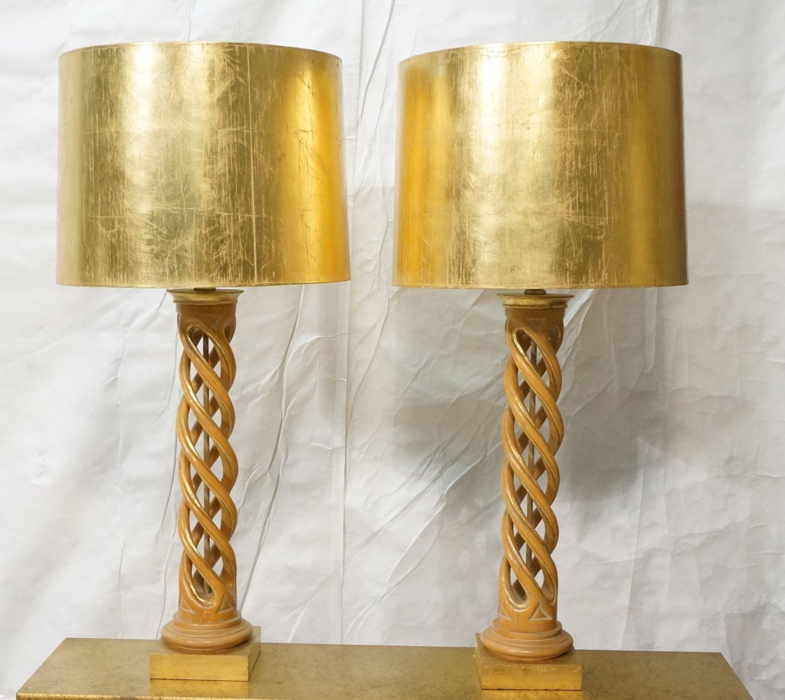 Pr JAMES MONT Style Twisted Wood Column Lamps. Br