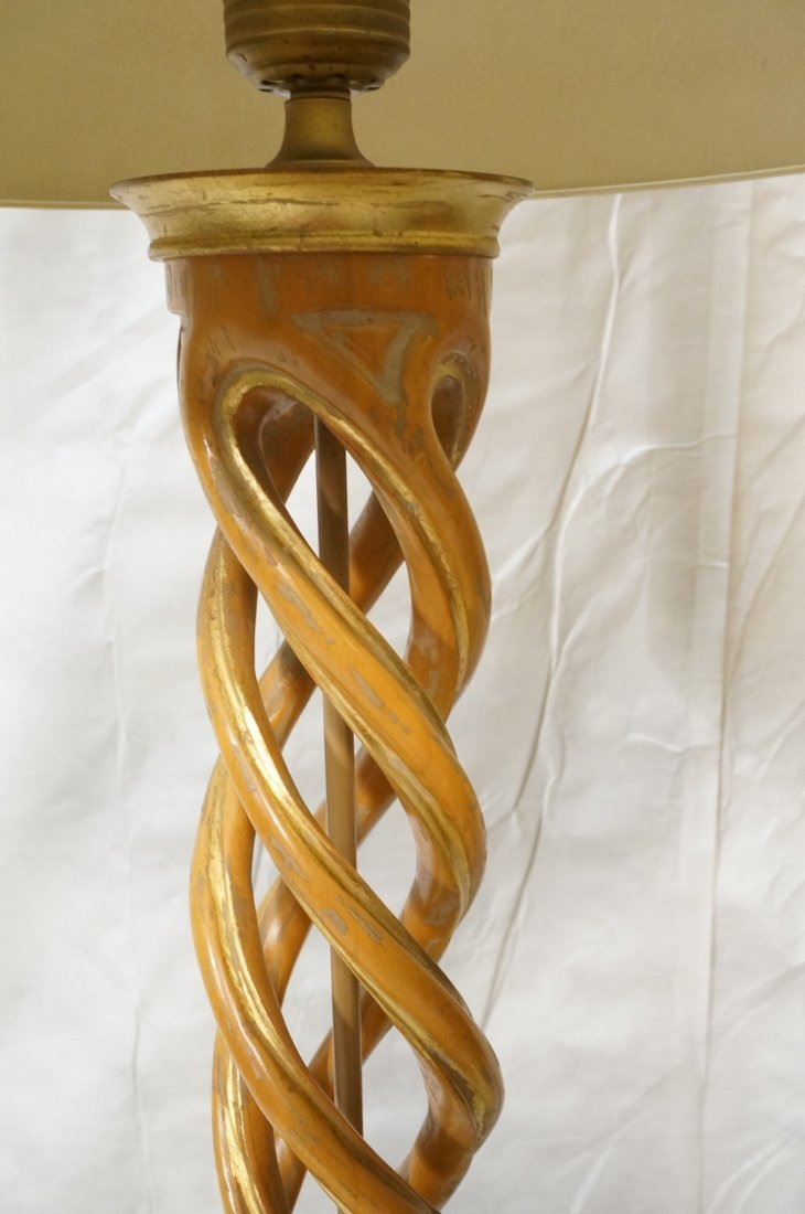 Pr JAMES MONT Style Twisted Wood Column Lamps. Br - 4