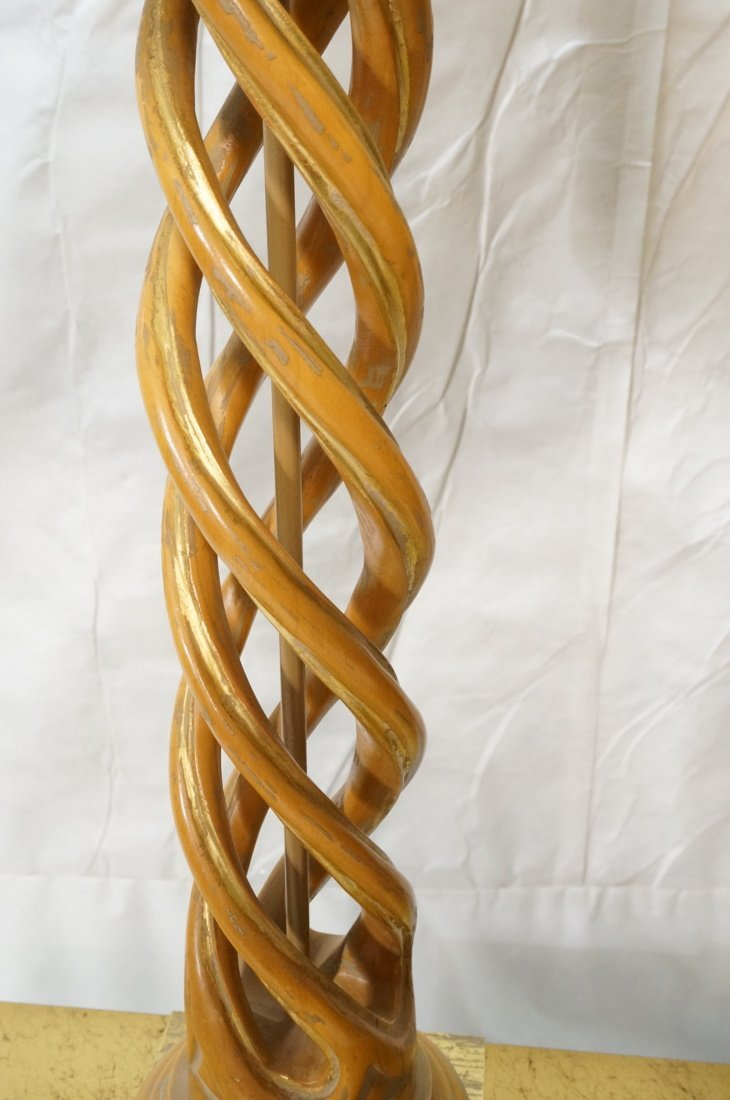 Pr JAMES MONT Style Twisted Wood Column Lamps. Br - 5