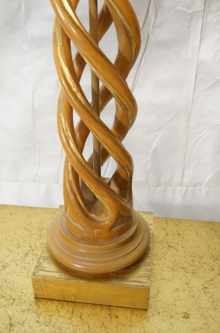 Pr JAMES MONT Style Twisted Wood Column Lamps. Br - 6