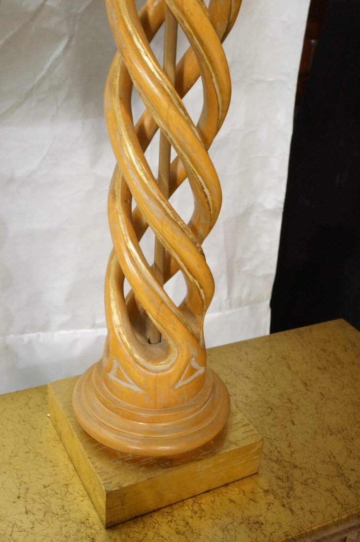 Pr JAMES MONT Style Twisted Wood Column Lamps. Br - 7