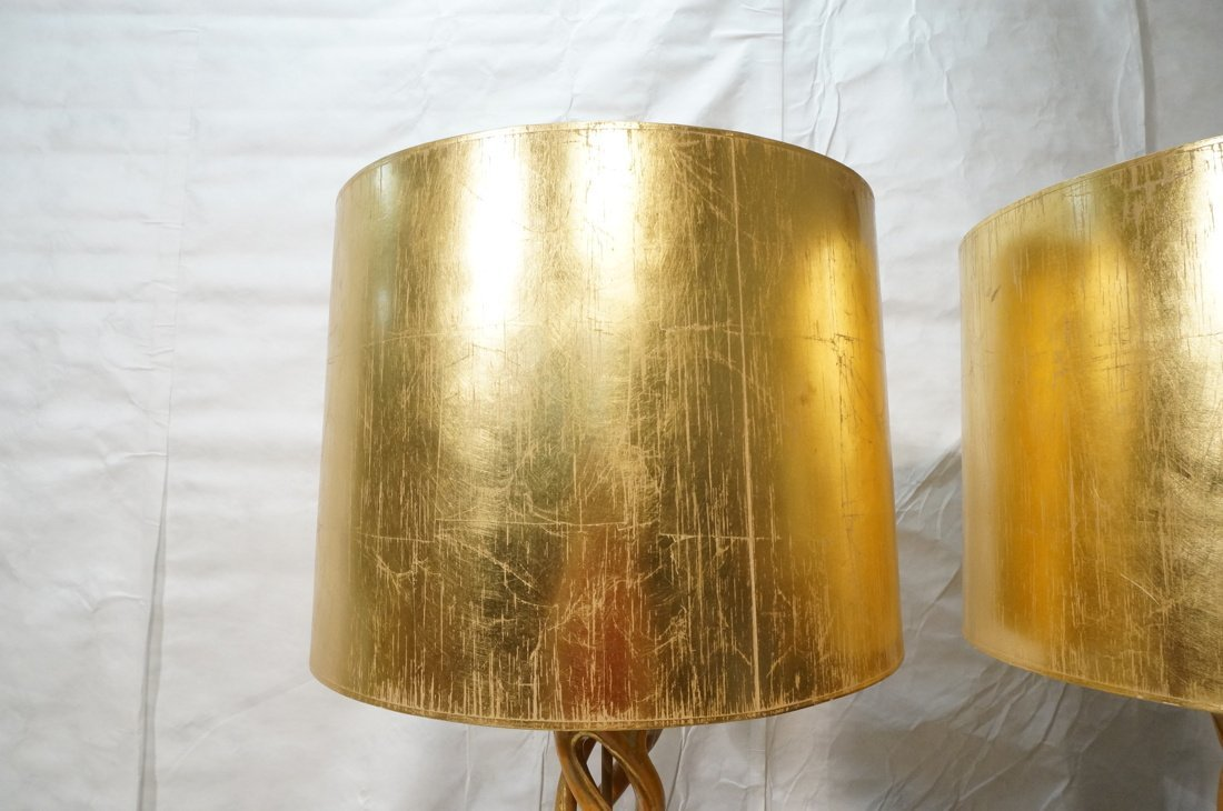 Pr JAMES MONT Style Twisted Wood Column Lamps. Br - 9