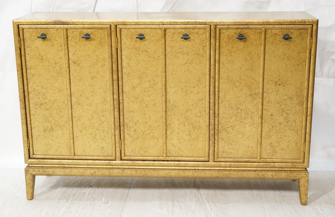 Gold Paint Decorated Small Credenza. Three Door C