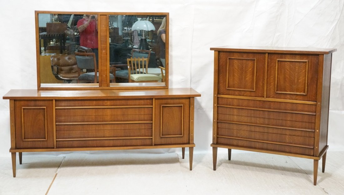 3pc KENT COFFEY Walnut Dresser, Chest. & Mirror.